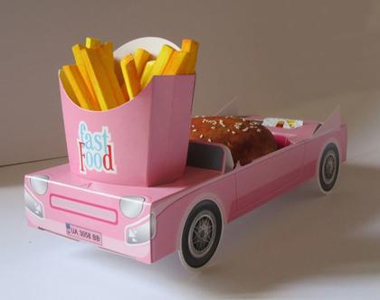 6 מכוניות תלת מימד להגשה   ורוד   יום הולדת   מסיבות   כלי הגשה   חד פעמי מעוצב   עיצוב שולחן יום הולדת