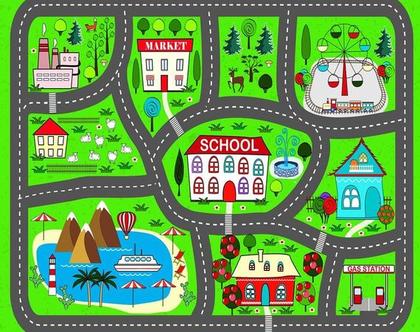 שטיח כביש לילדים - שטיח משחק | שטיח כביש