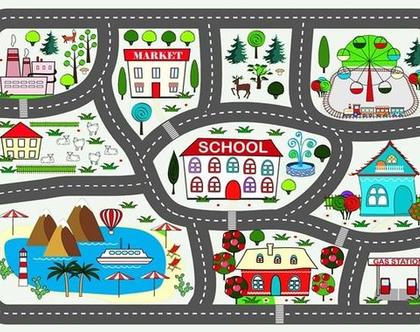 שטיח משחק כביש| שטיח לחדר ילדים | שטיח פעילות לילדים | שטיח כביש | שטיח לילדים