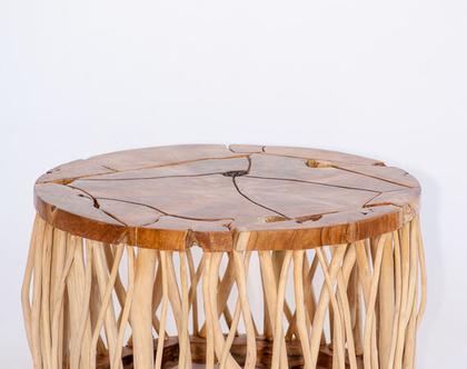 שולחן כפרי עגול נמוך , עץ מלא ***משלוח חינם***