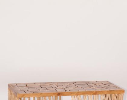 שולחן מלבני נמוך ,עץ טיק מלא. כפרי ואותנטי***משלוח חינם***