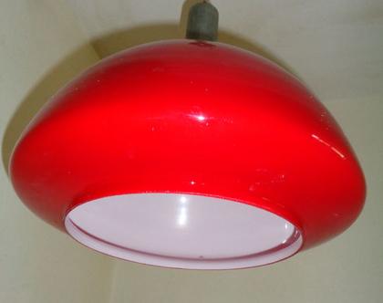 מנורת מורנו אדומה|מנורה זכוכית מורנו|תאורת וינטאג מורנו|