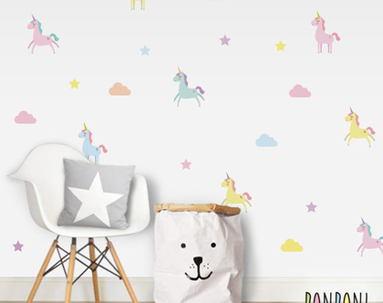 מדבקות קיר חד קרן | מדבקות לחדר תינוקות | מדבקות לחדר ילדים | מדבקות לחדרי ילדים | מדבקות קיר