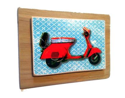 תמונה על עץ, Vespa איטלקיה על עץ ממוחזר |תמונה לסלון|מתנה לגבר|חדר ילדים|
