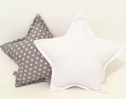 סט כריות כוכב אפור ולבן| כרית כוכב לבנה כרית כוכב אפור כוכבים| כרית כוכב לחדרי ילדים | עיצוב חדר ילדים