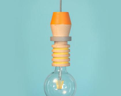 גוף תאורה מעץ מלא| מנורת תלייה | עיצוב הבית | גופי תאורה עבודת יד | עץ מלא