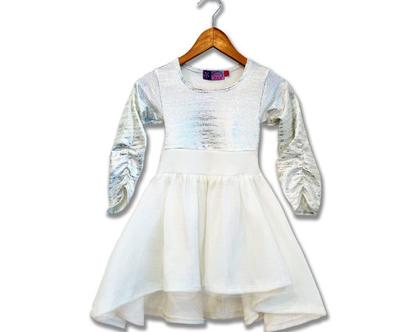 שמלה חגיגית לילדה , שמלת מיוזיק לבנה