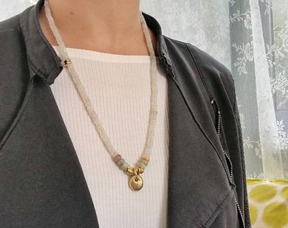 שרשרת אבני חן ועיגול זהב   שרשרת מונסטון   שרשרת מיוחדת   שרשרת מדהימה   שרשרת בעבודת יד