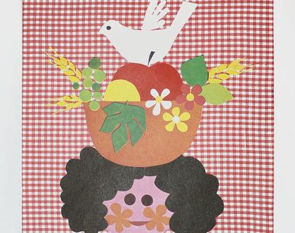 כרזת קק״ל מקורית של חג השבועות משנות ה-60, כרזת וינטאג׳, כרזה ישנה