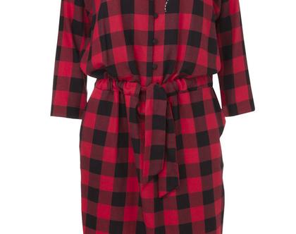 שמלת קיילי אדומה , שמלה משובצת, שמלה חורפית, שמלת מידי