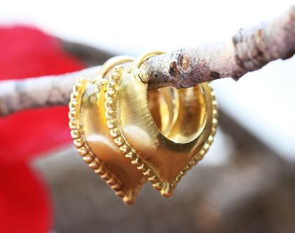 עגילי זהב סגנון עתיק, עגילי חישוק מעוצבים, עגילי זהב , עגילי זהב טיפה, עגילי זהב וינטאג', מתנה לאישה, עגילים תלויים עבודת יד