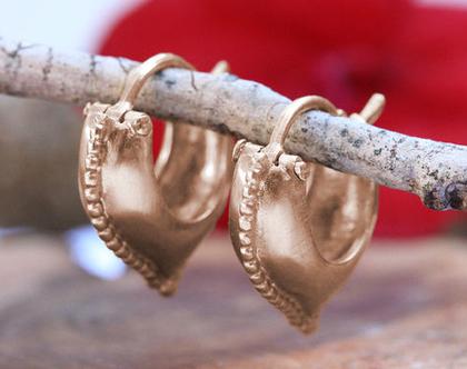 עגילי חישוק זהב אדום, עגילי חישוק מעוצבים, עגילי זהב , עגילי זהב עתיק, עגילי זהב וינטאג', מתנה לאישה, עגילים עבודת יד, עגילים לכלה,