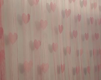 וילון חוטים טאסל בצורת לבבות בצבע ורוד