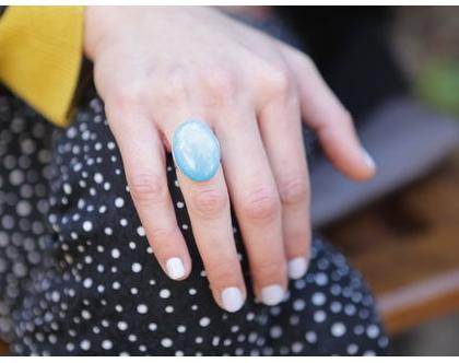 טבעת כסף בשילוב אבן כחולה