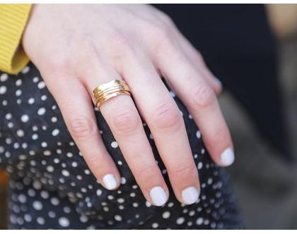 טבעת מעוצבת בשילוב טבעות מסתובבות בציפוי זהב,טבעת זהב, טבעת עבודת יד, מתנה לאישה