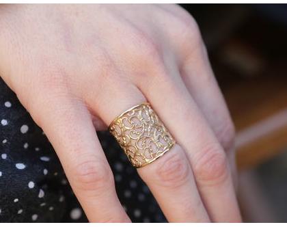טבעת אורנטמנט ברוחב 20 ממ מציפוי זהב