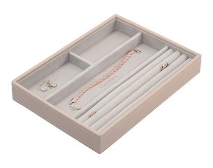 מגש מחולק, תוספת לקופסת התכשיטים המודולרית גודל קלאסיק - צבע ורוד סמוק.