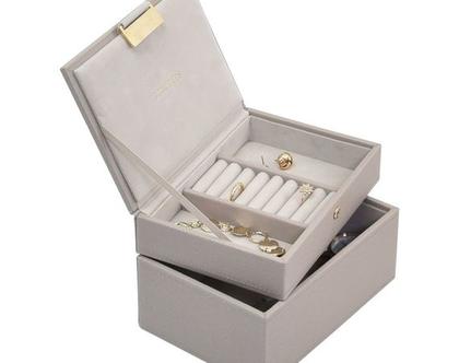 קופסת תכשיטים מודולרית 2 קומות - בז' טיופ