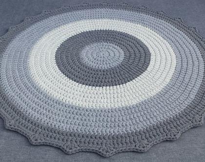 שטיח טריקו | שטיח סרוג | שטיח עבודת יד | שטיח עגול | שטיח בגווני אפור | שטיחים סרוגים