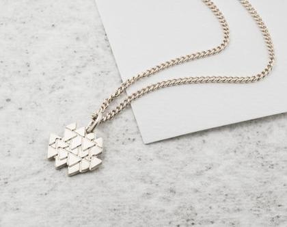שרשרת זהב משולשים / שרשרת גיאומטרית / שרשרת זהב/ שרשרת ציפוי זהב/ שרשרת זהב עם תליון משולשים