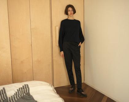 מכנסי שרוך מבריקים, מכנסיים כחולים, מכנסיים עם שרוך, מכנסיים נוחים