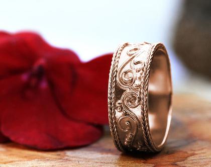 טבעת נישואין זהב אדום 14K, טבעת נישואים תחרה, טבעת נישואין מעוטרת, טבעת נישואים לאישה, טבעת נישואין ייחודית, טבעת נישואין מעוצבת