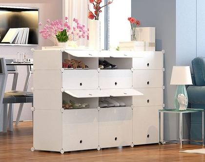 יחידת אחסון מודולרית המשלבת 12 תאי אחסון לנעליים או פריטים שונים,עשוי PVC ומסגרת פלדה