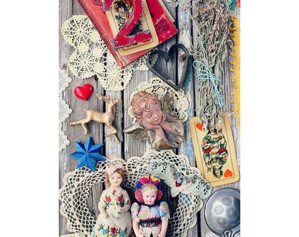 גלויה מצולמת. אוסף וינטאג' מופלא. פולקלור. פרינט מקורי.צילומים מקוריים. כרטיס ברכה לחורף. הדפס מקורי. פריטי וינטאג'.