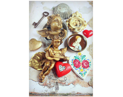 גלויה מצולמת. מלאכים. פרינט מקורי.צילומים מקוריים. כרטיס ברכה לחורף. הדפס מקורי. לב אדום. מלאך זהב.