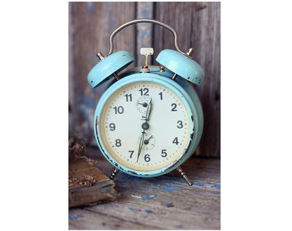 גלויה מצולמת. שעון ישן. פרינט מקורי. צילומים מקוריים. כריסמס. כרטיס ברכה לחורף. הדפס מקורי. שעון וינטאג'.