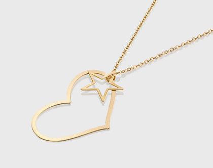 שרשרת לב / שרשת מיוחדת זהב / שרשרת כוכב/ שרשרת זהב עם תליון / שרשרת מתנה יום האהבה/ שרשרת מיוחדת כוכב / מתנה לחברה