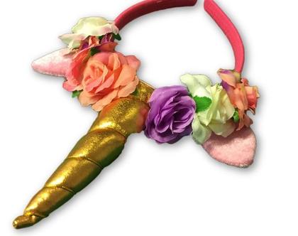 קשת חד-קרן פרחים גולד