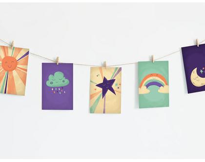 שרשרת גלויות מעוצבות דגם שמיים   איורים מתוקים לחדר תינוקות   גרילנדה לעיצוב חדר ילדים או משרד   סט גלויות מאויירות על חוט עם אטבי עץ