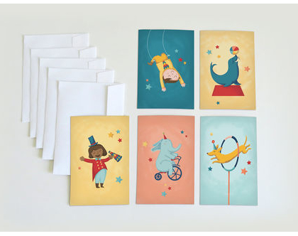 סט כרטיסי ברכה עם מעטפות   ערכת ברכות מאויירות   גלויות עם איורים של קרקס   ברכות לחג   ברכה ליום הולדת