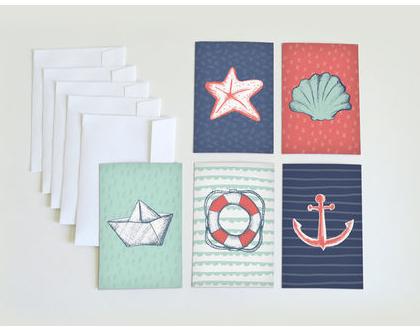 סט כרטיסי ברכה עם מעטפות   ערכת ברכות מאויירות   גלויות עם איורים בנושא ים   ברכות לחג   ברכה ליום הולדת