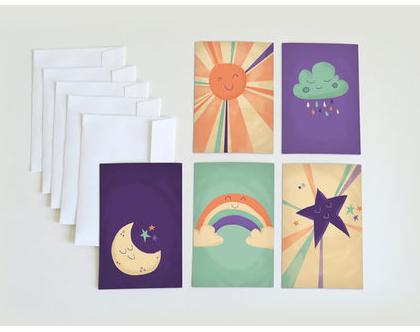 סט כרטיסי ברכה עם מעטפות   ערכת ברכות מאויירות   גלויות עם איורים דגם שמיים   ברכות לחג   ברכה ליום הולדת