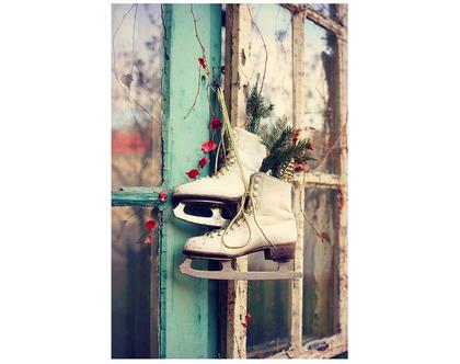 גלויה מצולמת. מחליקי קרח של פעם. פרינט מקורי. צילומים מקוריים. כרטיס ברכה לחורף. הדפס מקורי. כריסמס. christmas