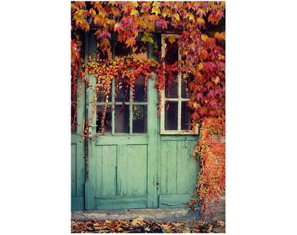 גלויה מצולמת. דלת עתיקה. דלת טורקיז צילום. פרינט מקורי. צילומים מקוריים. כרטיס ברכה. הדפס מקורי. הדפס דלתות עתיקות.