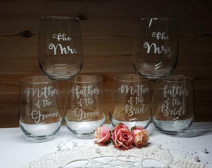 6 כוסות יין ללא רגל, מתנה לחינה, מתנת אירוסין, חריטה אומנותית בעבודת יד| shiranlavishohat.com | 052-8339640