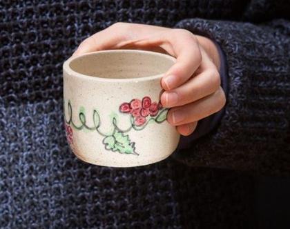 ספל אספרסו, ספל בלי ידית, כוס תה, כוס קטנה, ספל קטן, כוס קפה שחור, ספל קרמיקה קטן, קעריות פיצוחים, כוס שתייה קרה, מתנה לחג (מיוצר לפי הזמנה)