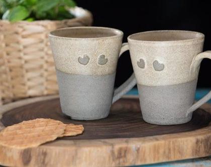 זוג ספלים רומנטיים, סט ספלי קרמיקה, סט ספלים לקפה, ספל תה, כוס אספרסו, ספל לשתייה חמה, מתנה רומנטית, מתנה לזוג, מתנה לאמא (מיוצר לפי הזמנה)