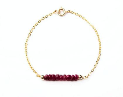 צמיד זהב ורובי טבעי או כסף 925 | תכשיטים מאבני רובי | הריון ולידה | תכשיטים אנרגטיים