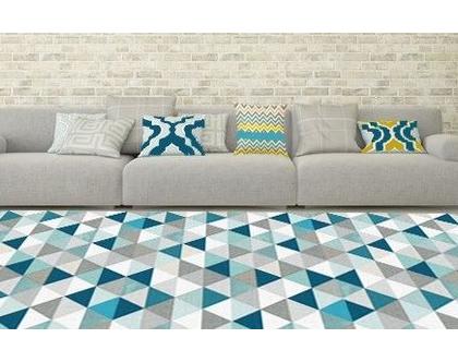 שטיח משולשים טורקיז | שטיח ויניל מעוצב בטקסטורה | שטיח PVC משולשים בצבע טורקיז
