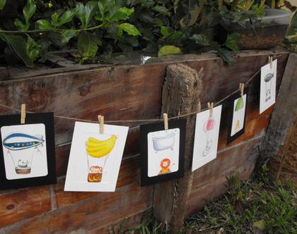 לחדר הילדים-חיותי. גלויות מאויירות במסגרות קרטון מעוצבות