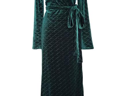 שמלת מעטפה מקסי קטיפה ירוקה