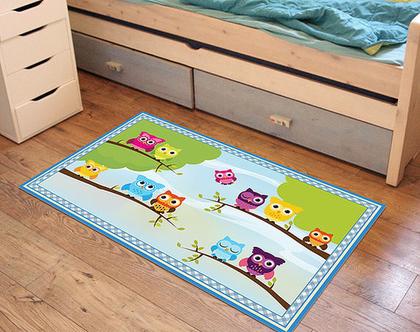"""שטיח PVC עבה במיוחד לילדים דגם- """"ינשופים על ענף"""""""