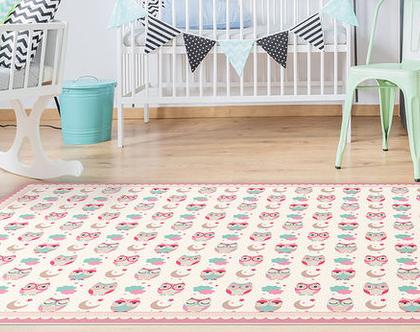 """שטיח PVC עבה במיוחד לילדים דגם- """"ינשופים קטנים- ורוד"""""""