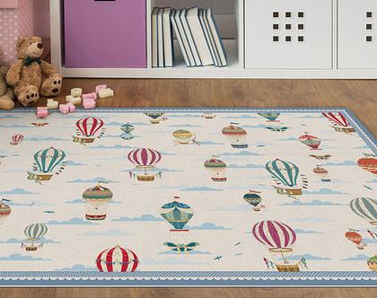 """שטיח PVC עבה במיוחד לילדים דגם- """"כדורים פורחים - כחול"""""""