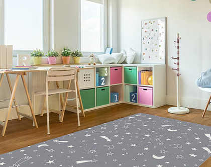 """שטיח PVC עבה במיוחד לילדים דגם- """"כוכבים - אפור"""""""