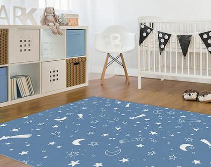 """שטיח PVC עבה במיוחד לילדים דגם- """"כוכבים - כחול"""""""